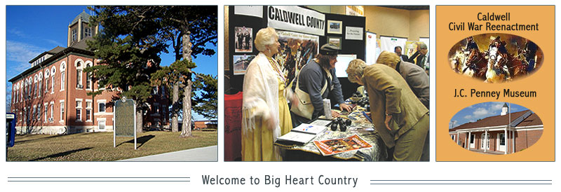 Our county seat (at left) located in Kingston, Missouri; promoting our county at the Great Northwest Day at the Capitol in Jefferson City, Missouri (center photo); and links to our Caldwell County Civil War Reenactment and the JC Penney Museum in Hamilton